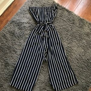Navy Striped Strapless Culotte Jumpsuit